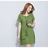 【Maya 名媛】 (中大碼) 薄棉麻大口背袋造型連衣裙 洋裝 連衣裙-草綠色