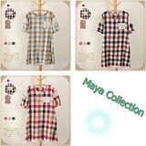 【Maya Collection】夏季清新自然彩色格子拼接蕾絲縷空口袋短袖中常版上衣