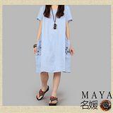 【Maya 名媛】(s~xl) 夏日涼爽棉麻圓領 紗質拼布口袋 小扣子裝飾 自然森色系 連衣裙-清爽藍色