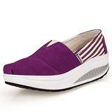 【Maya easy】增高搖擺鞋 帆布鞋 懶人套腳鞋 純色條紋拼接系列-紫色