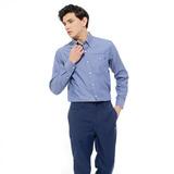 【hilltop山頂鳥】男款抗UV吸濕快乾長袖襯衫S05M55-牛仔藍