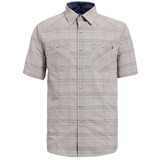 【hilltop山頂鳥】男款抗UV吸濕快乾短袖襯衫S06M54-卡其/藍色格子
