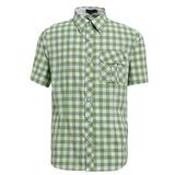 【hilltop山頂鳥】男款抗UV吸濕快乾短袖襯衫S06M55-綠/白格子