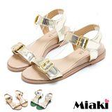 【Miaki】MIT 涼鞋金屬造型韓版平底涼拖 (金色/銀色)