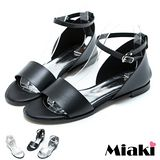 【Miaki】MIT 涼鞋平底韓版寬帶包鞋涼施 (黑色/白色/銀色)