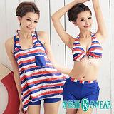 思薇爾泳裝SWEAR 美式條紋比基尼三件式泳裝(M~XL)