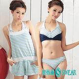 思薇爾泳裝SWEAR 藍綠條紋比基尼三件式泳裝(M~L)