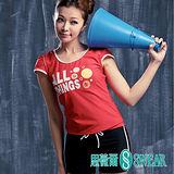 思薇爾泳裝SWEAR 運動風紅色短袖二件式泳裝(M~L)