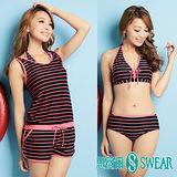 思薇爾泳裝SWEAR 甜美系粉黑條紋三件式泳裝(M~L)