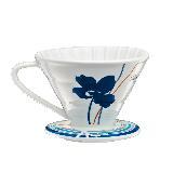 Tiamo V02陶瓷咖啡濾杯組-附量匙.滴水盤(藍色) HG5547B