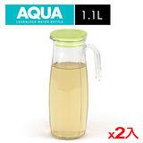 ★2件超值組★樂扣樂扣 沁涼玻璃冷水壺-橄欖綠色(1.1L)
