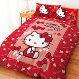 【享夢城堡】HELLO KITTY 蝴蝶結甜心系列-雙人四件式床包兩用被套組(紅)