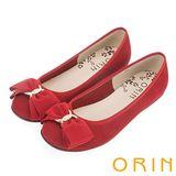 ORIN 典雅輕柔OL 立體雙織帶蝴蝶結麂皮娃娃鞋-紅色