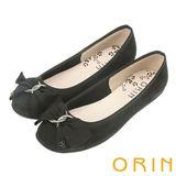 ORIN 典雅輕柔OL 立體雙織帶蝴蝶結麂皮娃娃鞋-黑色