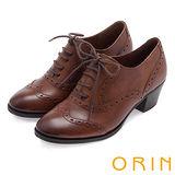 ORIN 復古牛津甜心 雙色蠟感雕花綁帶牛津粗跟鞋-棕色