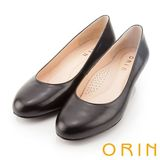 ORIN OL實穿必備款 素面舒適柔軟羊皮中跟鞋-黑色