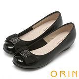ORIN 微甜OL 金屬飾釦真皮雙層蝴蝶結楔型低跟鞋-黑色