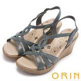 ORIN 簡約時尚 交叉編織牛皮楔型涼鞋-藍色
