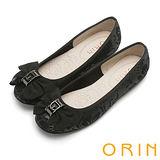 ORIN 時尚大躍升 織帶蝴蝶結花紋平底娃娃鞋-黑色