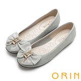 ORIN 時尚大躍升 織帶蝴蝶結花紋平底娃娃鞋-灰色