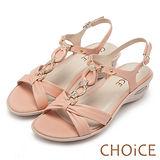 CHOiCE 異國休閒舒適 柔軟羊皮鑽練造型氣墊涼鞋-粉色