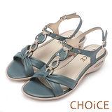 CHOiCE 異國休閒舒適 柔軟羊皮鑽練造型氣墊涼鞋-藍色