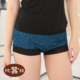 岱妮蠶絲 - (JA309A4)蕾絲豹紋中高腰平口女內褲(藍色)