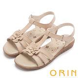 ORIN 簡約休閒 嚴選牛皮花朵造型涼鞋-米色