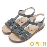 ORIN 簡約休閒 嚴選牛皮花朵造型涼鞋-藍色