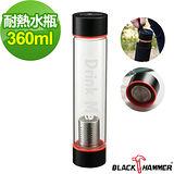 (任選) 義大利 BLACK HAMMER Drink Me系列耐熱玻璃水瓶(附茶格+布套)