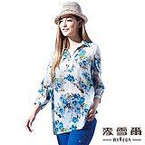 【麥雪爾】襯衫領彩繪花朵長版七分袖上衣-共三色
