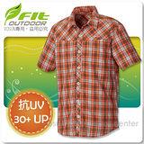 【維特 FIT】男新款 格紋吸排抗UV短袖襯衫 FS1202 鮭魚橙