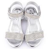 童鞋城堡-日本娃娃 中童 華麗水鑽低跟涼鞋9581-銀