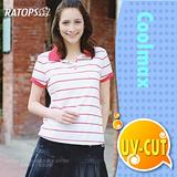 【瑞多仕-RATOPS】COOLMAX 女款單條紋POLO衫.運動休閒衫.防晒衣.排汗衣 / DB7961 白底紅條