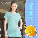【瑞多仕-RATOPS】COOLMAX 女款雙細條寬領長版上衣 / DB7967 翠綠底色