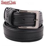 【法國Saint Clair】聖克萊紳仕牛皮穿針皮帶(黑色Z96801)