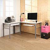 《BuyJM》低甲醛鏡面160+80公分L型穩重型一抽一鍵工作桌