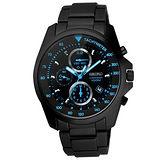 SEIKO 概念較量三眼計時運動腕錶(黑藍)