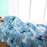HomeBeauty 舒眠涼感精梳棉涼被-藍色喵喵 雙人