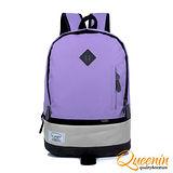 DF Queenin日韓 - 韓版街頭時尚豬鼻雙拼彩色後背包-羅蘭紫