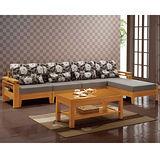 【品味居】米可洛L型亞麻布木椅沙發組(左右向可選)