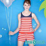 思薇爾泳裝 SWEAR 小甜心藍紅條紋連身褲泳裝-(M~XL)