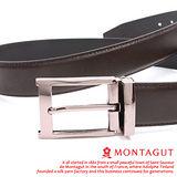MONTAGUT夢特嬌-二層牛皮 交叉細紋 針扣皮帶M894014