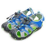 【GOOD YEAR】專業運動護趾涼鞋 藍灰綠 58036 中大童
