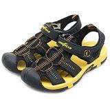【男】GOOD YEAR 專業排水護趾運動涼鞋 黑黃 53734