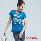 BOBSON 皇冠印圖T恤-藍色