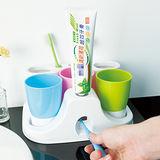 【ikloo】懶人擠牙膏器&牙刷杯架組