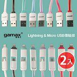 gamax 嘉瑪仕 iPhone/Micro USB 1.5米高速2合1傳輸線 (2入) (i5/i6/HTC/三星..)