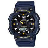 CASIO 型男個性太陽能雙顯錶 (深藍錶帶) 52mm