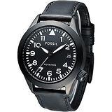 FOSSIL 暗黑勇士時尚大錶徑腕錶 -黑